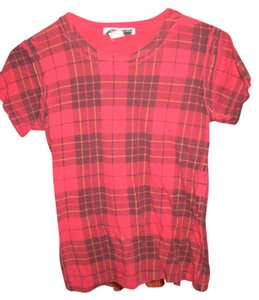 Anzevino &Florence Anzevino & Florence Hipster Plaid Red T Shirt Red Plaid