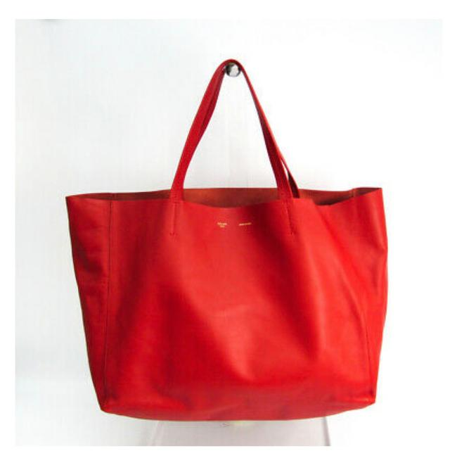 Item - Horizontal Cabas Red Leather Tote