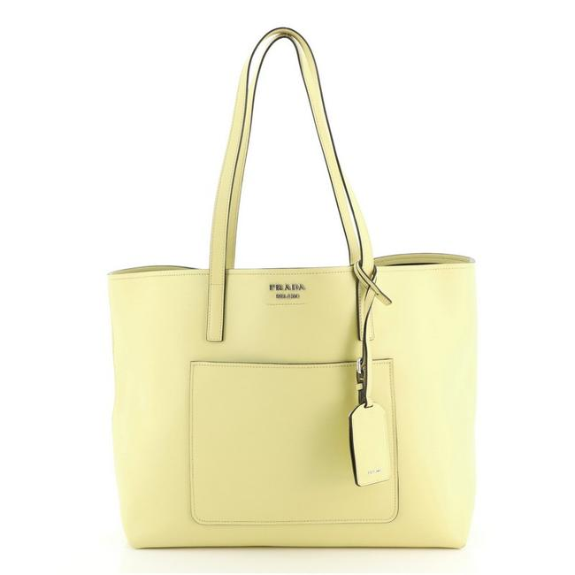 Item - Shopping Front Pocket City Calfskin Yellow Leather Tote