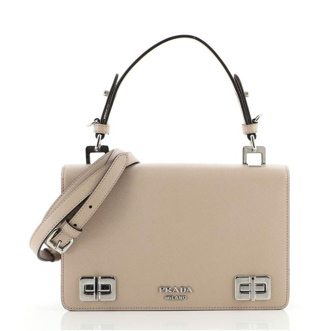 Item - Double Turnlock Top Handle Flap Saffiano Small Neutral Leather Shoulder Bag