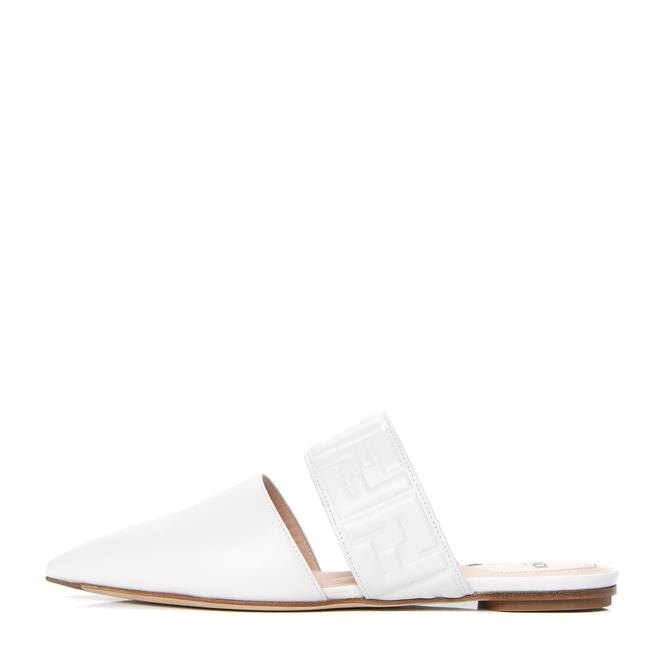 Item - White Ff Logo Printed Strap Pointed Toe Mule Sandals Flats Size EU 41.5 (Approx. US 11.5) Regular (M, B)