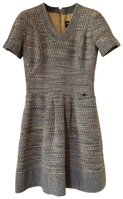 Item - Tan Tweed Sleeve In Navy Purple and Green Mid-length Short Casual Dress Size 6 (S)