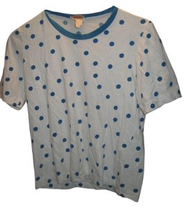 Courrèges French T-shirt Paris T Shirt White and blue polkadots