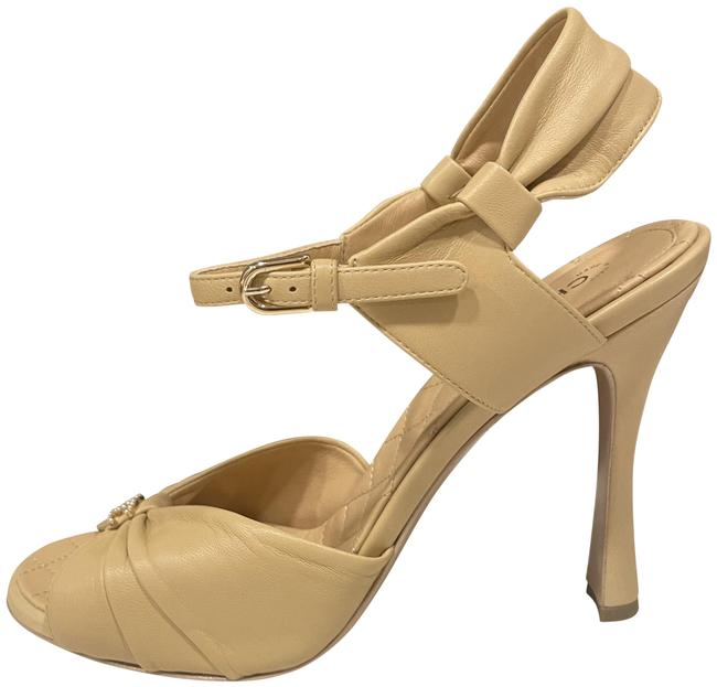 Item - Beige 20p Leather Draped Bow Pearl Cc Ankle Strap Heel Sandals Size EU 40.5 (Approx. US 10.5) Regular (M, B)