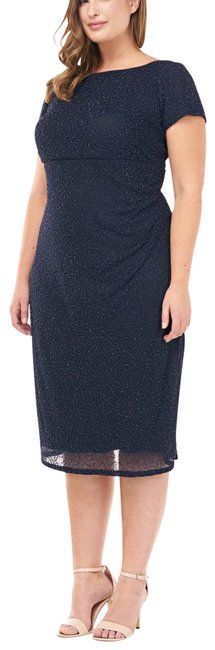 Item - Blue Beaded Midi Curve In Mid-length Cocktail Dress Size 18 (XL, Plus 0x)