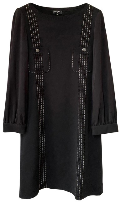 Item - Black W Sweater Slip On Knit Bell Sleeves In Mid-length Short Casual Dress Size 8 (M)