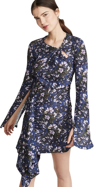 Item - Blue Multiple Day To Night Floral Print Short Casual Dress Size 6 (S)