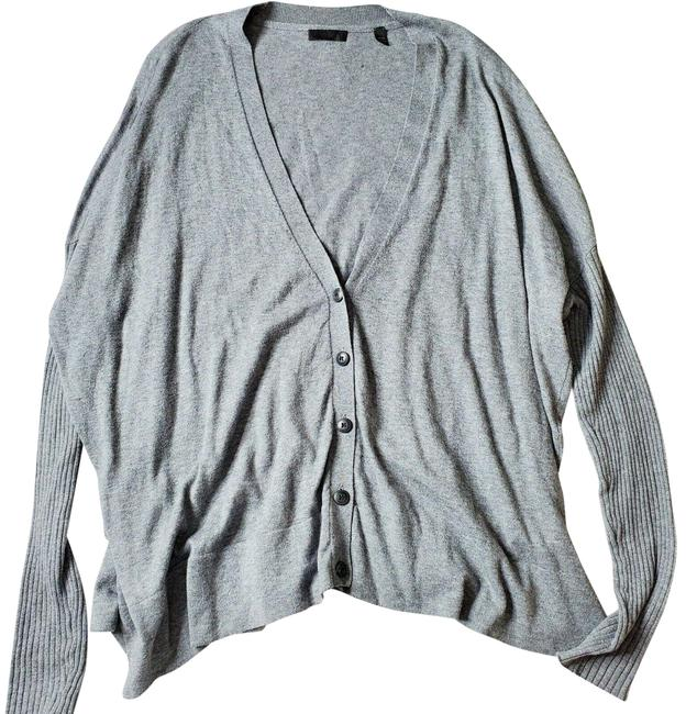 Item - Silk Blend Ribbed Sleeve V-neck Button Up Cardigan Gray Sweater