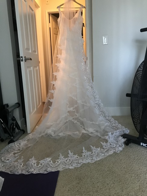 Item - White Long Cathedral with Sequins Lace and Comb Bridal Veil