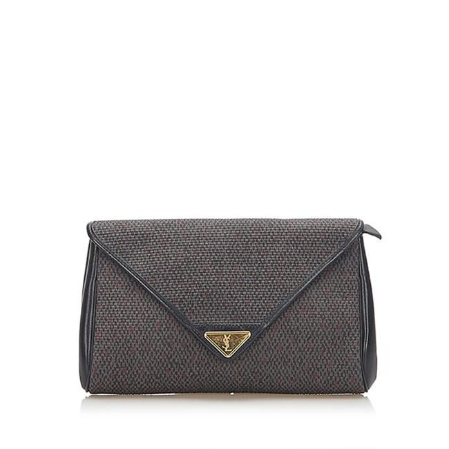 Item - Canvas Gray Leather Clutch