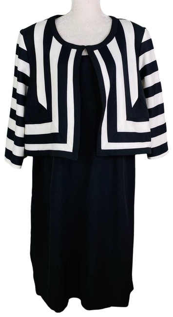 Item - Black And Jacket Ivory Stripes New Night Out Dress Size 24 (Plus 2x)