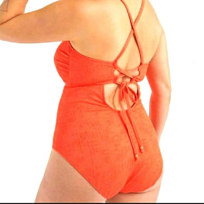 Lucky Brand Hot Coral Orange Delaney Slimming Swimsuit 1x One-piece Bathing Suit Size 20 (Plus 1x) Lucky Brand Hot Coral Orange Delaney Slimming Swimsuit 1x One-piece Bathing Suit Size 20 (Plus 1x) Image 4
