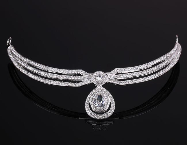 Item - Silver New Bride Pageant Sparkly Crystal Water Drop Crown Tiara