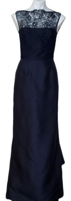 Item - Navy Blue W Couture Silk Gown W/Train Long Formal Dress Size 8 (M)