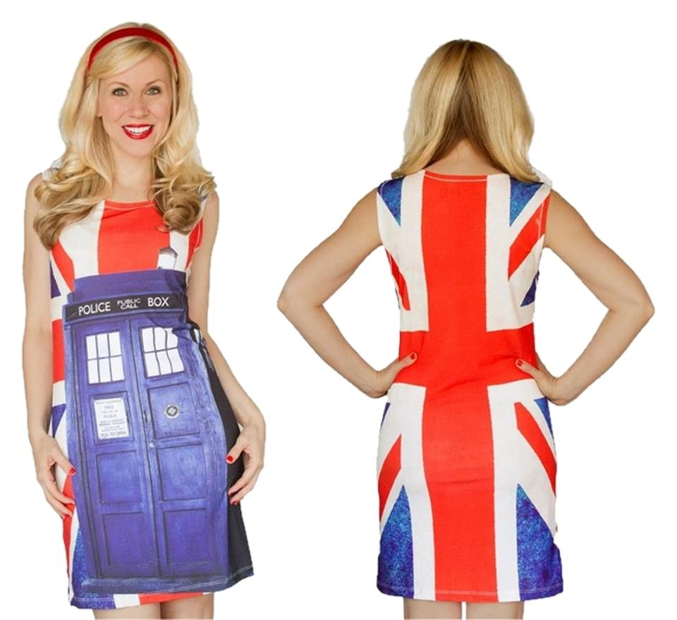 Hot Topic Doctor Who Her Universe Tardis Union Jack Mid Length Short