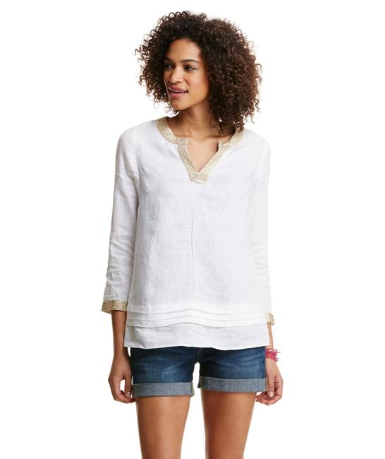 Item - White and Gold Pleated Linen Tunic Size 4 (S)