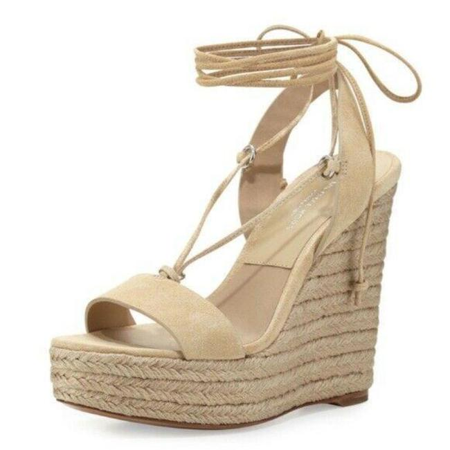 Item - Ivory Womens Heels Cream Suede Lace-up Espadrille Sandals Wedges Size US 7.5 Regular (M, B)