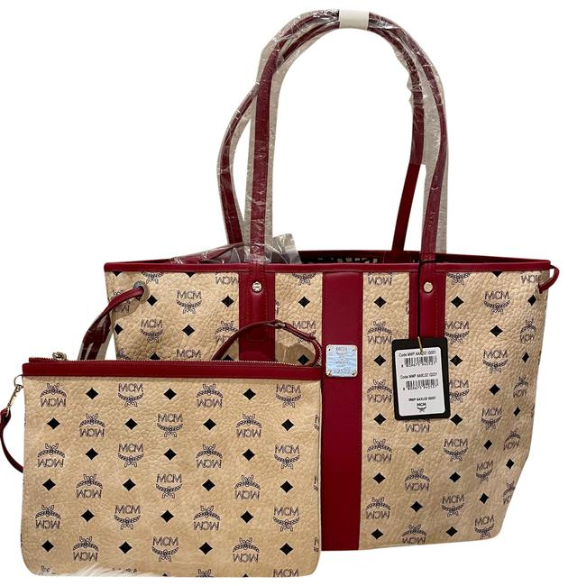 Item - New - Liz Shopper Medium Beige and Brown Coated Canvas with Leather Trim Tote
