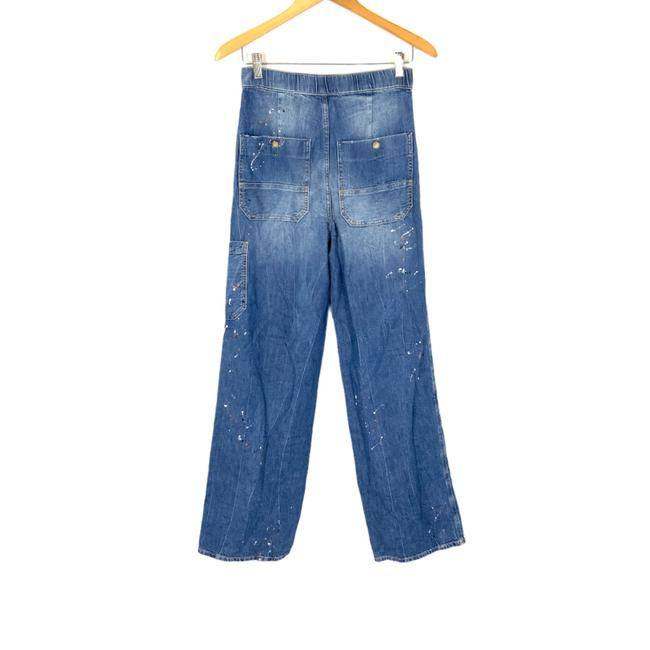 Free People Blue Distressed Dust Bowl Trouser/Wide Leg Jeans Size 2 (XS, 26) Free People Blue Distressed Dust Bowl Trouser/Wide Leg Jeans Size 2 (XS, 26) Image 2