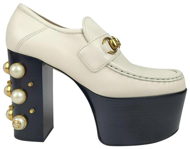 Item - White Leather Pearls and Studs Oxford Heel 37/Us 470970 9022 Platforms Size US 7 Regular (M, B)