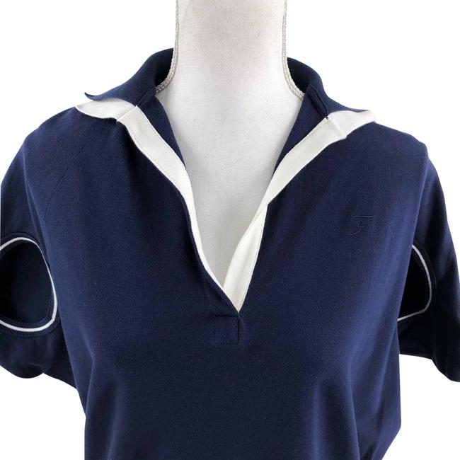 Item - Blue Jersey Italy Bistretch Navy White Tee Shirt Size 4 (S)