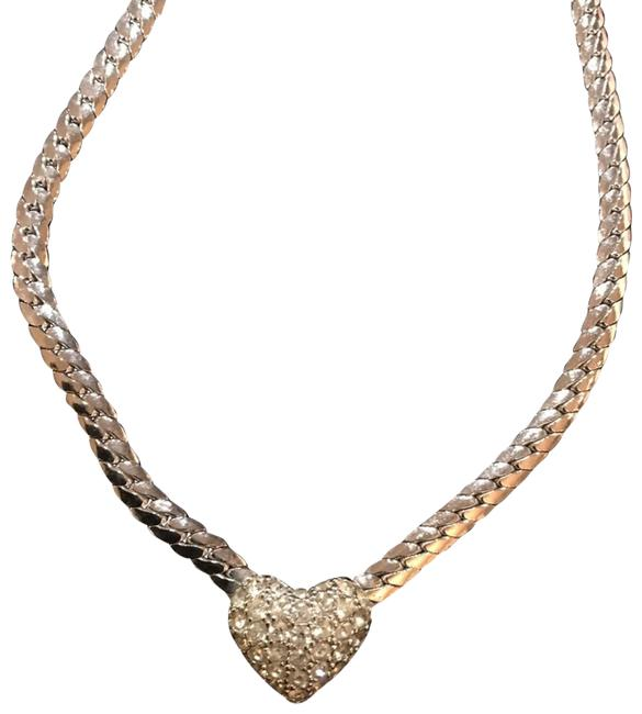 Item - Silver Vintage Chistian Pave Rhinestone Heart Necklace