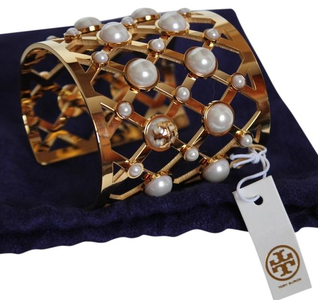 Item - Yellow Gold 102 Pearl Wide Lattice Cuff Style: #41145804 Bracelet