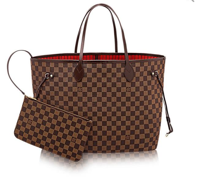 Item - Neverfull New Gm Damier Ebene with Pouch Red Lining Brown Leather Tote