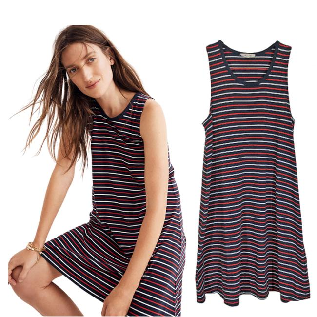 Item - Blue Red White Highpoint Franklin Strip Tank Mid-length Short Casual Dress Size 10 (M)