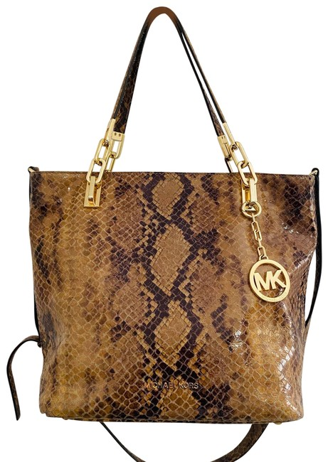 """Item - """"Brooke"""" Brown/Gold Python Leather Tote Brown Satchel"""