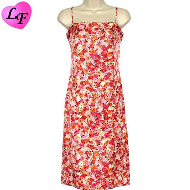 Item - Red Floral Silk Spaghetti Strap In Vivid and Pink Cocktail Dress Size 8 (M)