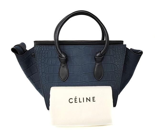 Item - Tie Knot Small Crocodile Stamped Smooth Calfskin Blue Black Nubuck Leather Tote