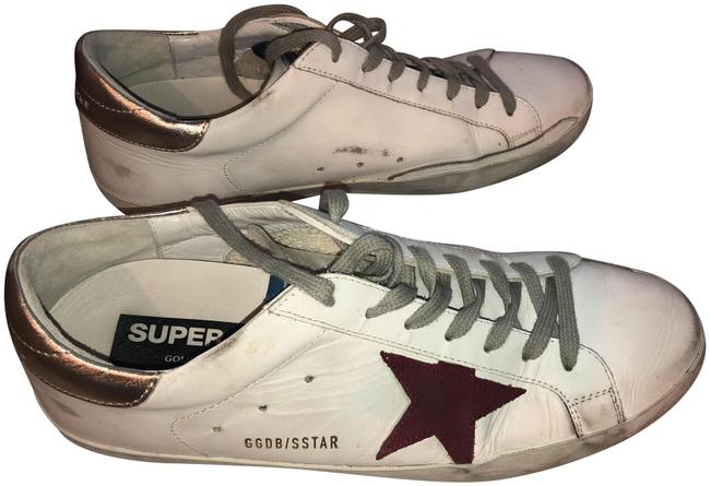 Golden Goose Deluxe Brand White/ Red/ Gold Superstar Mixed Leather Sneakers Size EU 44 (Approx. US 14) Regular (M, B) Golden Goose Deluxe Brand White/ Red/ Gold Superstar Mixed Leather Sneakers Size EU 44 (Approx. US 14) Regular (M, B) Image 1