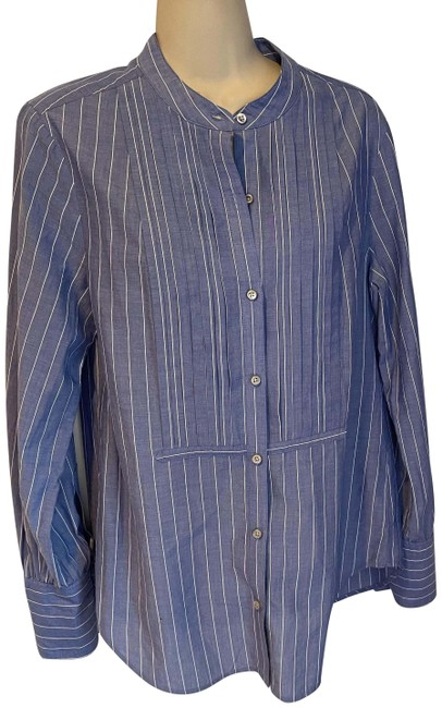 Item - Blue and White Striped Pleated Button Up Button-down Top Size 8 (M)