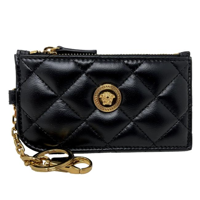 Item - Black New Quilted Leather Key Chain Card Holder Wallet