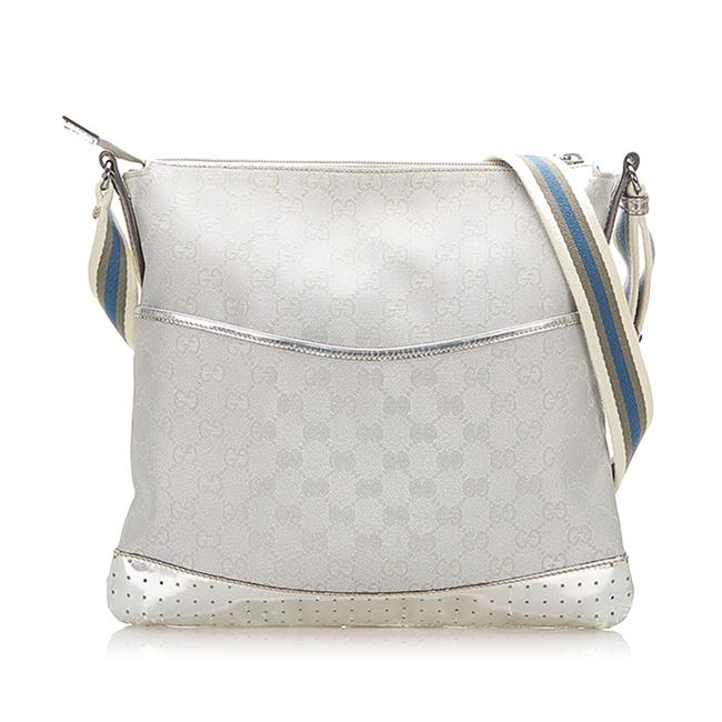 Item - Gg Canvas Silver Leather Cross Body Bag