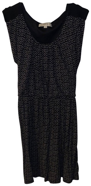 Item - Black and White Sleeveless Chevron with Tie Waist Mid-length Short Casual Dress Size 8 (M)