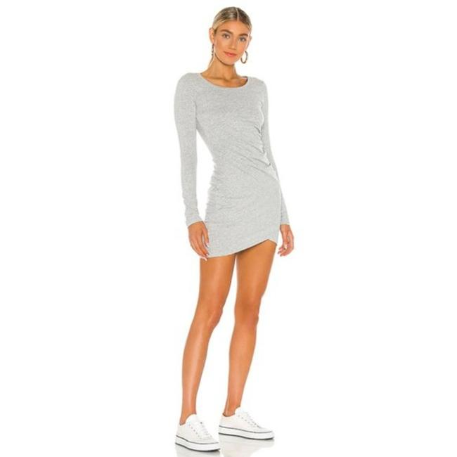 Item - Gray Jersey Supreme Ruched Short Cocktail Dress Size 8 (M)