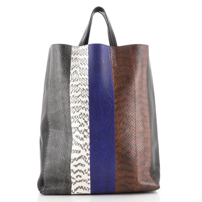 Item - Vertical Cabas And Large Black Multicolor Leather Python Exotic Tote