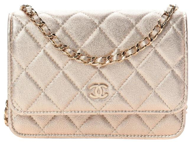 Item - Wallet on Chain Lambskin Quilted Mini Woc Metallic Gold Leather Cross Body Bag