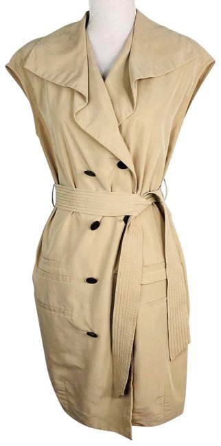 Item - Tan Shirtdress Small Beige Sleeveless Belted Mid-length Short Casual Dress Size 6 (S)