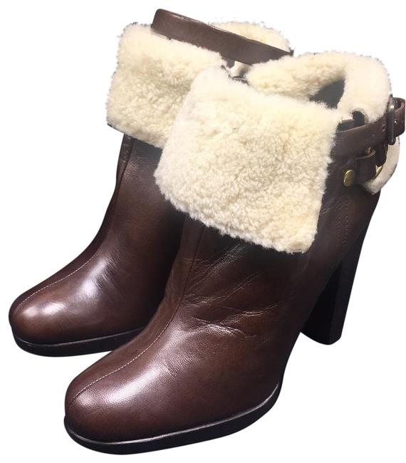 Item - Brown 4121 Leather Sherpa Western Ankle Boots/Booties Size EU 36.5 (Approx. US 6.5) Regular (M, B)