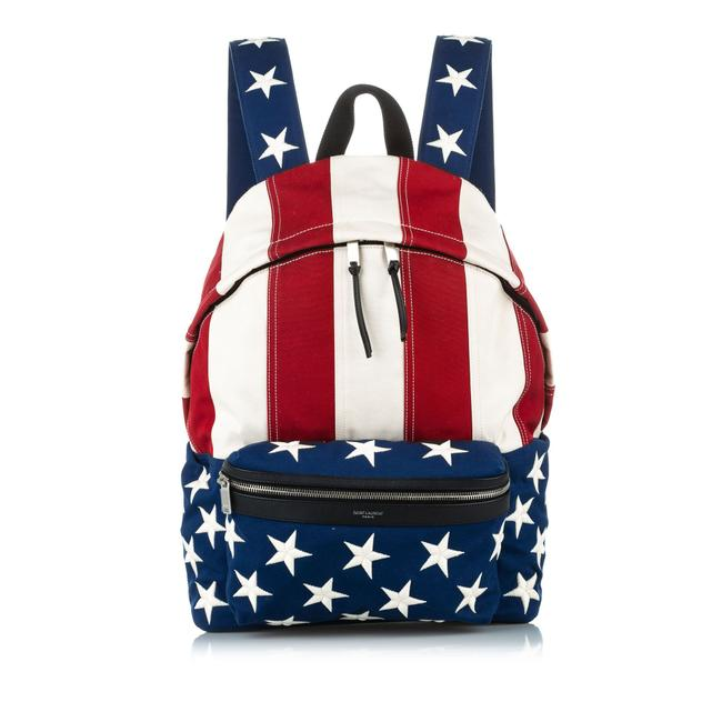 Item - City American Flag Canvas Multicolor Leather Backpack