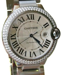 Cartier Cartier Steel Mens Ballon Bleu 42mm Watch Box Paper Warranty Diamonds
