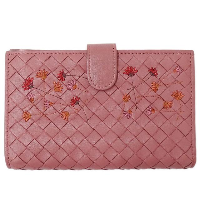 Item - Pink Intrecciato Bi-fold Ladies Leather Flower Embroidery Wallet