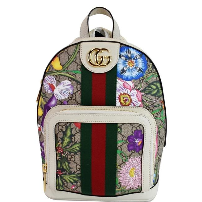 Item - Ophidia Gg Flora Small Supreme Canvas Beige Multicolor Backpack