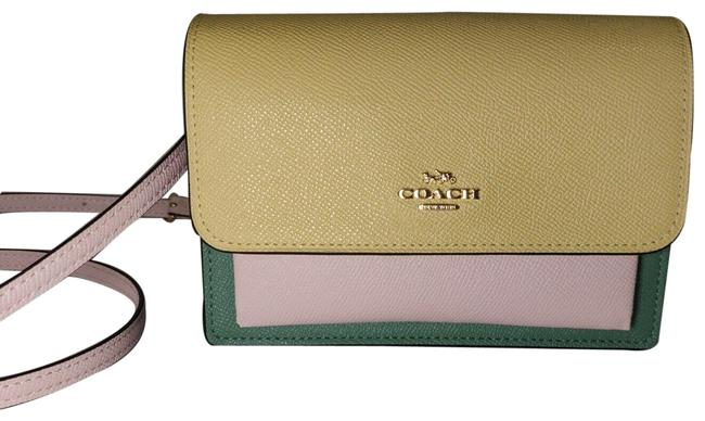 Item - Belt Foldover and 6422 Yellow Pink Leather Cross Body Bag