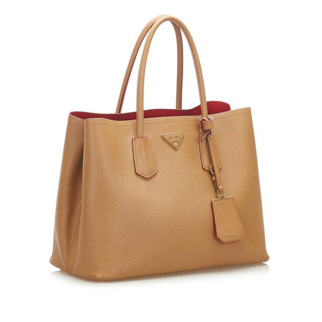 Item - Twin Saffiano Cuir Brown Leather Satchel