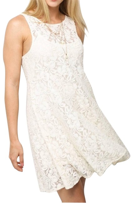 Item - Cream Miles Of Lace Sheer Skater Short Casual Dress Size 4 (S)