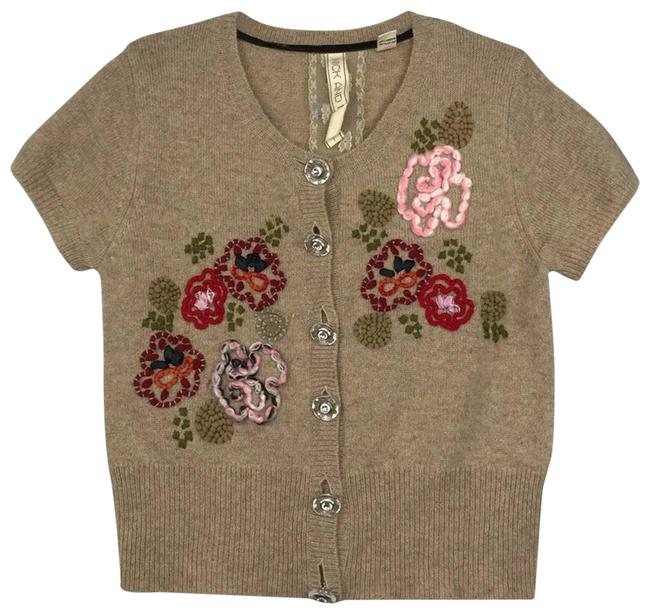 Item - Tan Floral Embroidery Knit Sweater Cardigan Size 12 (L)
